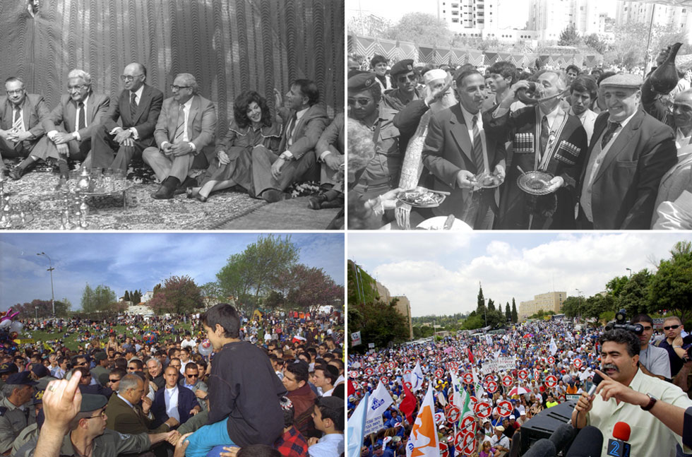 """גן סאקר הוא גם מגנט לפוליטיקאים שבאים לקושש קולות, בעיקר במימונה (צילום: לע""""מ)"""