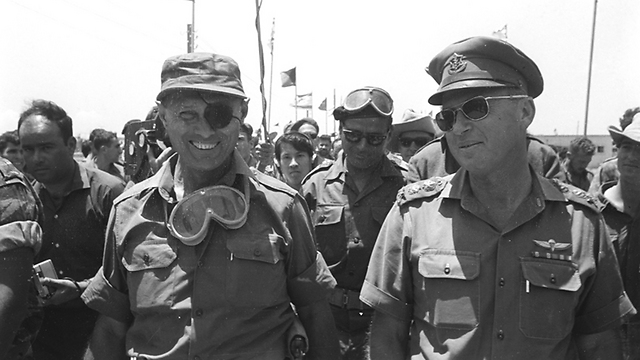 Yitzhak Rabin (R) with Moshe Dayan in the Six-Day War (Photo courtesy of the Ministry of Defense)