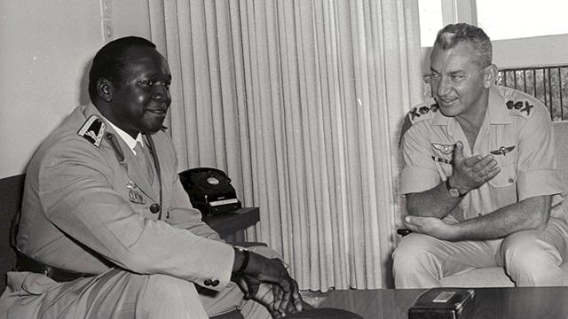 Haim Bar-Lev, right, meets with Ugandan despot Idi Amin during his time as the IDF chief of staff (Photo: IDF Spokesman)