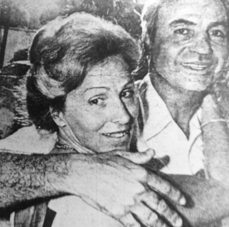 Michel Bacos, right, and his wife Rosemary celebrating his safe return home from Entebbe 40 years ago.