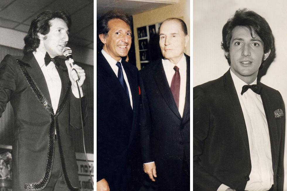 """מארדל בימים אחרים. במרכז: עם נשיא צרפת, פרנסואה מיטראן. """"ראיתי אנשים עשירים ומפורסמים שיש להם בעיה: הם לא שמחים"""" (צילום רפרודוקציה: יואב דודקביץ)"""