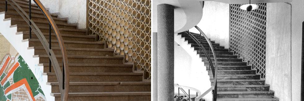 המדרגות מהמבואה המפוארת למעלה, אז והיום. ''למרות שאין מזגן, תמיד נעים כאן'', אומר האדריכל ארז אלה שהופקד על חידוש המבנה (צילום: שולמית נדלר, גדעון לוין)