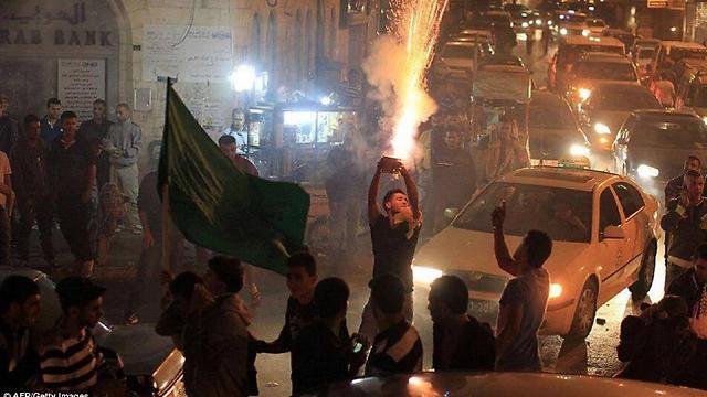 Palestinians in Hebron setting off fireworks to celebrate Tel Aviv terror attack