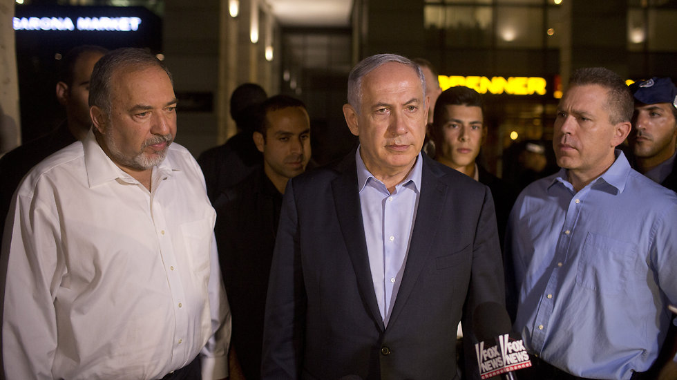 L to R: Security Council members, Def. Min. Lieberman; PM Netanyahu, and Public Security Min. Erdan (Photo: Getty Images)