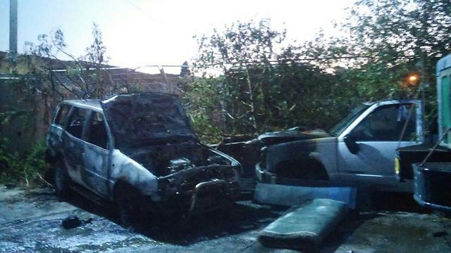 Price tag attack on Arab cars outside Nazareth (Photo: El-Arab News)
