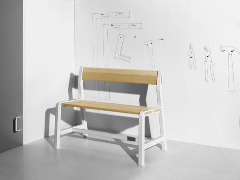 ספסל מהקולקציה של HAY לאיקאה  (צילום: באדיבות IKEA)