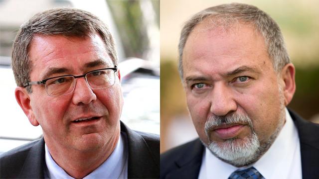 Ashton Carter and Avigdor Lieberman (Photos: EPA, AP) (Photos: AP, EPA)