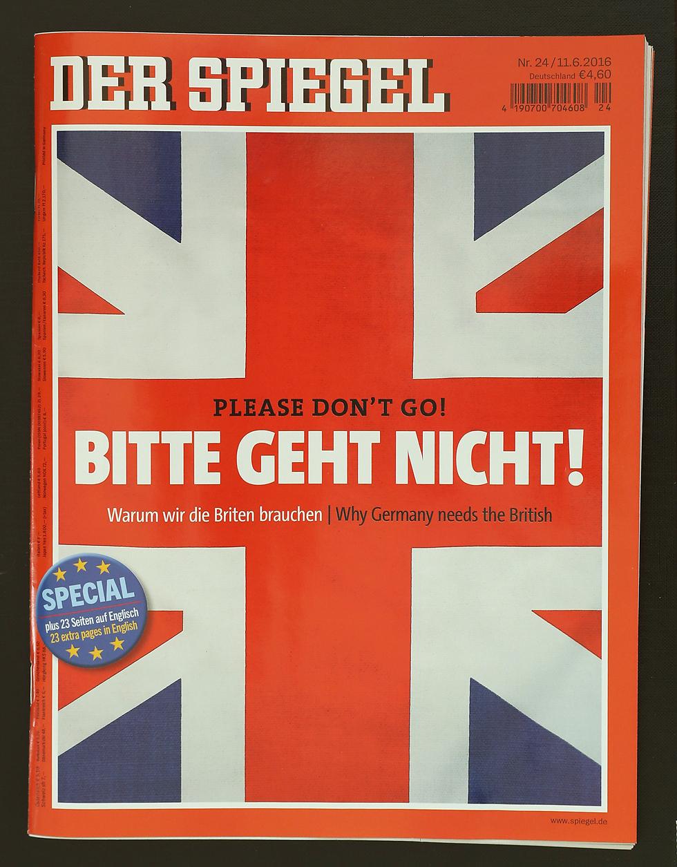 """שער ה""""דר שפיגל"""" הגרמני מבקש מבריטניה להישאר באיחוד האירופי (צילום: gettyimages) (צילום: gettyimages)"""