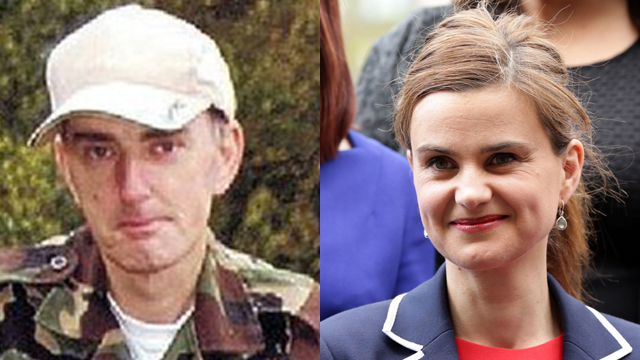 Mair (L) and his victim, PM Jo Cox