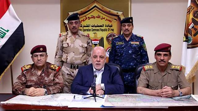 נאום הניצחון של ראש הממשלה חיידר אל-עבאדי ()
