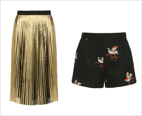 מכנסיים קצרים, 215 שקל; חצאית פליסה מוזהבת, 280 שקל (צילום: ניר יפה)