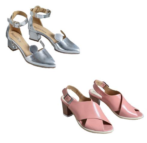 נעלי מיקי מאוס כסופות, 560 שקל; סנדלים ורודים עם רצועות עבות, 560 שקל (צילום: שי בן אפרים)