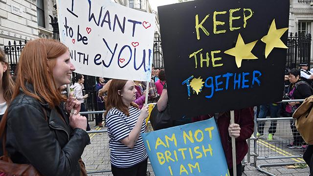 לא רוצים לצאת מהאיחוד. מפגינים בלונדון (צילום: EPA) (צילום: EPA)