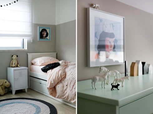 חדרה של הבת, במוקה ופסטלים (צילום: שירן כרמל)
