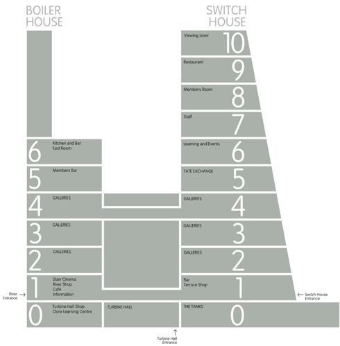 חלוקת הקומות בשני הבניינים. היעילות המרחבית גוברת על החוויה (שרטוט: באדיבות טייט גלרי)