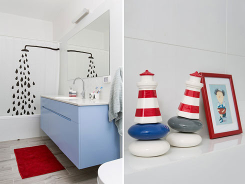 וילון משעשע ותוספות צבע בחדר הרחצה (צילום: שירן כרמל)