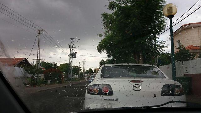 קצת גשם בכפר סבא (צילום: יובל מן) (צילום: יובל מן)