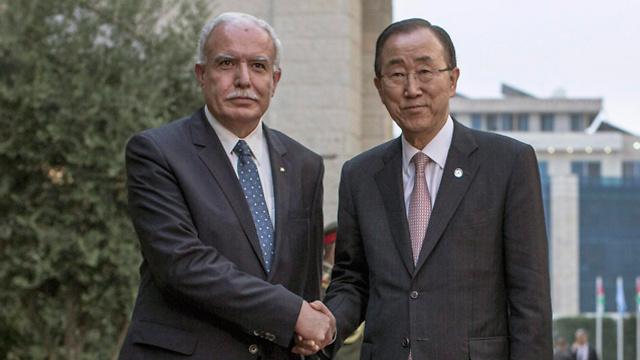 Palestinian Foreign Minister Riad al-Maliki meets UN Sec. Gen. Ban Ki Moon (Photo: EPA)