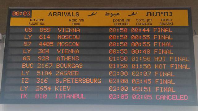 """לוח הטיסות בנתב""""ג, הלילה (צילום: רעות רימרמן) (צילום: רעות רימרמן)"""
