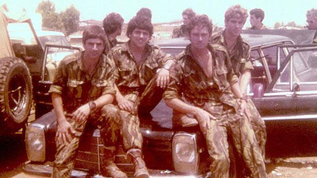 Left to right: Amos Ben-Avraham, Amos Goren, Alex Davidi and Shlomi Reisman on the famed Mercedes at the Tel Nof Air Force base after the operation (Photo: Shlomi Reisman)