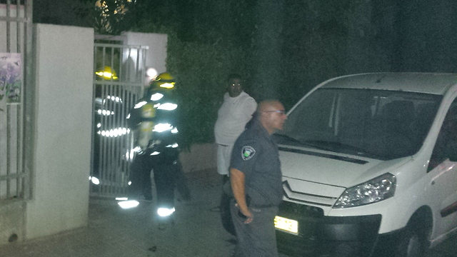 Emergency services at scene of rocket (Photo: Zev Trachtman)