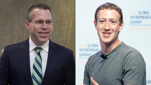 Minister of Public Security Gilad Erdan (L) has accused Facebook founder Mark Zuckerberg (R) of hindering security.