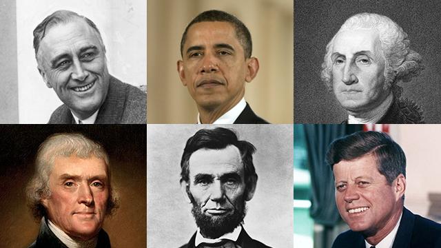 למעלה משמאל ובכיוון השעון: רוזוולט, אובמה, וושינגטון, קנדי, לינקולן וג'פרסון  (צילום: shutterstock, gettyimages, EPA) (צילום: shutterstock, gettyimages, EPA)
