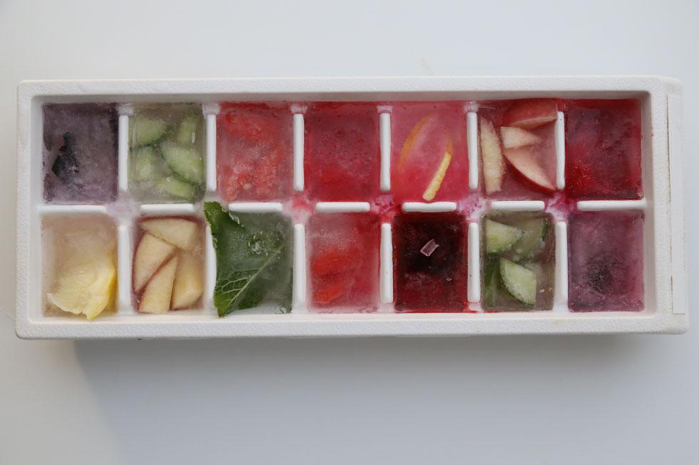 קוביות קרח עם חתיכות פרי (צילום: עודד חוברה)