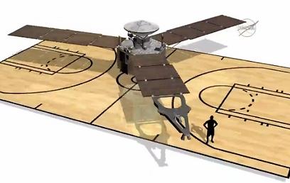 """הדמיה של גודל החללית. יותר גדולה ממגרש כדורסל (צילום: נאס""""א) (צילום: נאס"""