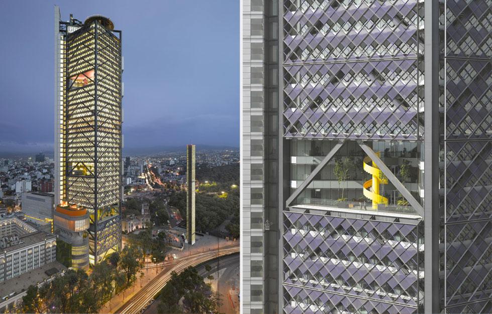 המטה של הבנק הגדול ביותר במקסיקו, BBVA Bancomer, שהוא (עדיין) המגדל הגבוה ביותר במקסיקו סיטי, מועמד אף הוא לפרס. פרויקט משותף של האדריכל הבריטי הנודע ריצ'רד רוג'רס עם משרדו של ריקרדו לגורטה, שהלך לעולמו לפני חמש שנים (צילום: באדיבות World Architecture Festival announces 2016)