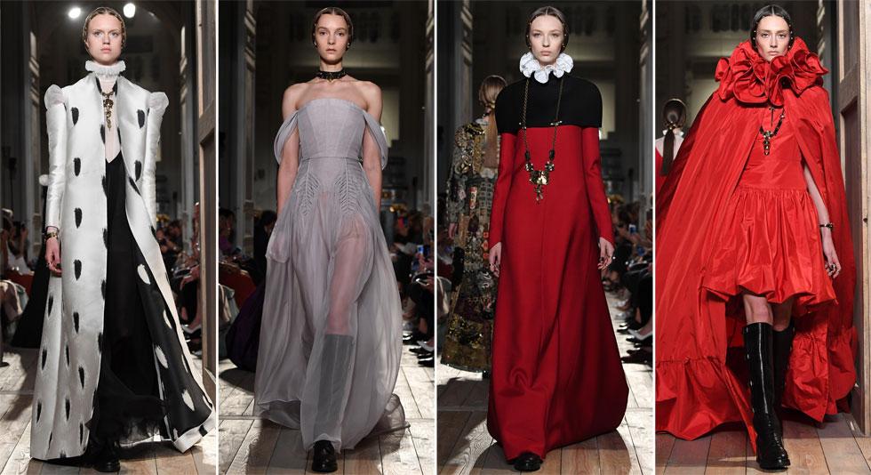 שמלות רומנטיות עשירות ברקמות בעבודת יד, הדפסי פרחים ואביזרים נוטפי תשוקה. ולנטינו (צילום: Gettyimages)
