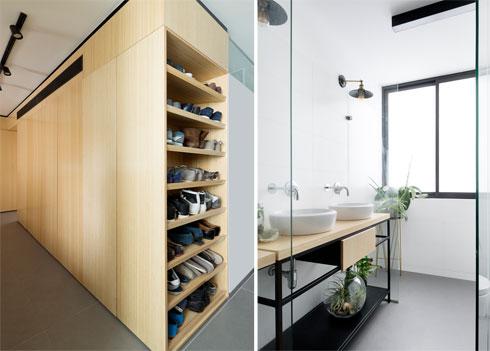 חדר הרחצה של בני הזוג, וארון הנעליים הנוח (צילום: גדעון לוין)