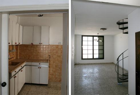 המטבח והסלון לפני השיפוץ (צילום: אדריכל כפיר גלאטיה אזולאי)