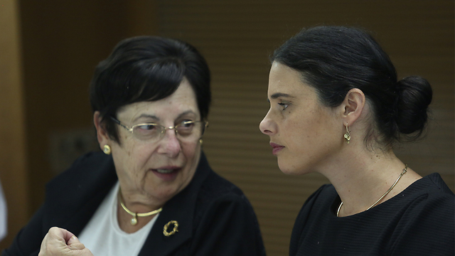 L to R: Supreme Court President Miriam Naor and Minister of Justice Ayelet Shaked (Photo: Gil Yohanan)