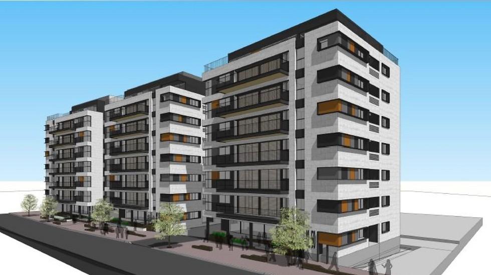"""הדמיית הפרויקט ברחוב קהילת לודג' בת""""א (הדמיה: אורית מילבואר, אייל אדריכלות)"""