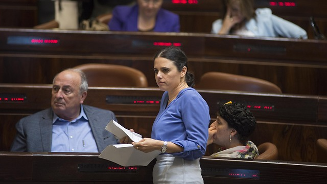 Justice Minister Shaked at the Knesset during vote on NGO law (Photo: Yoav Dudkevitch)