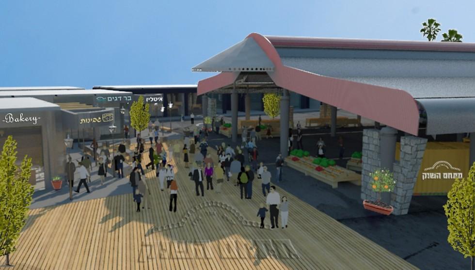 הדמיית מתחם שוק האוכל בעפולה (הדמיה: משרד גליל אדריכלים) (הדמיה: משרד גליל אדריכלים)