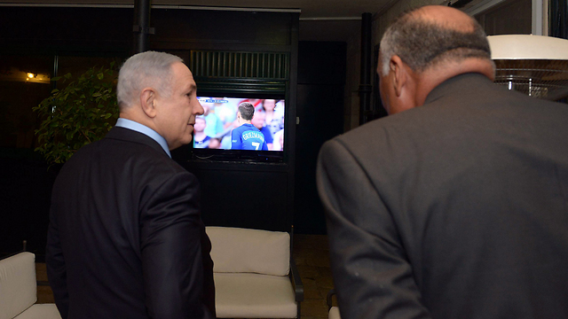 PM Netanyahu and Egyptian Foreign Minister Shoukry watching the Euro Cup final