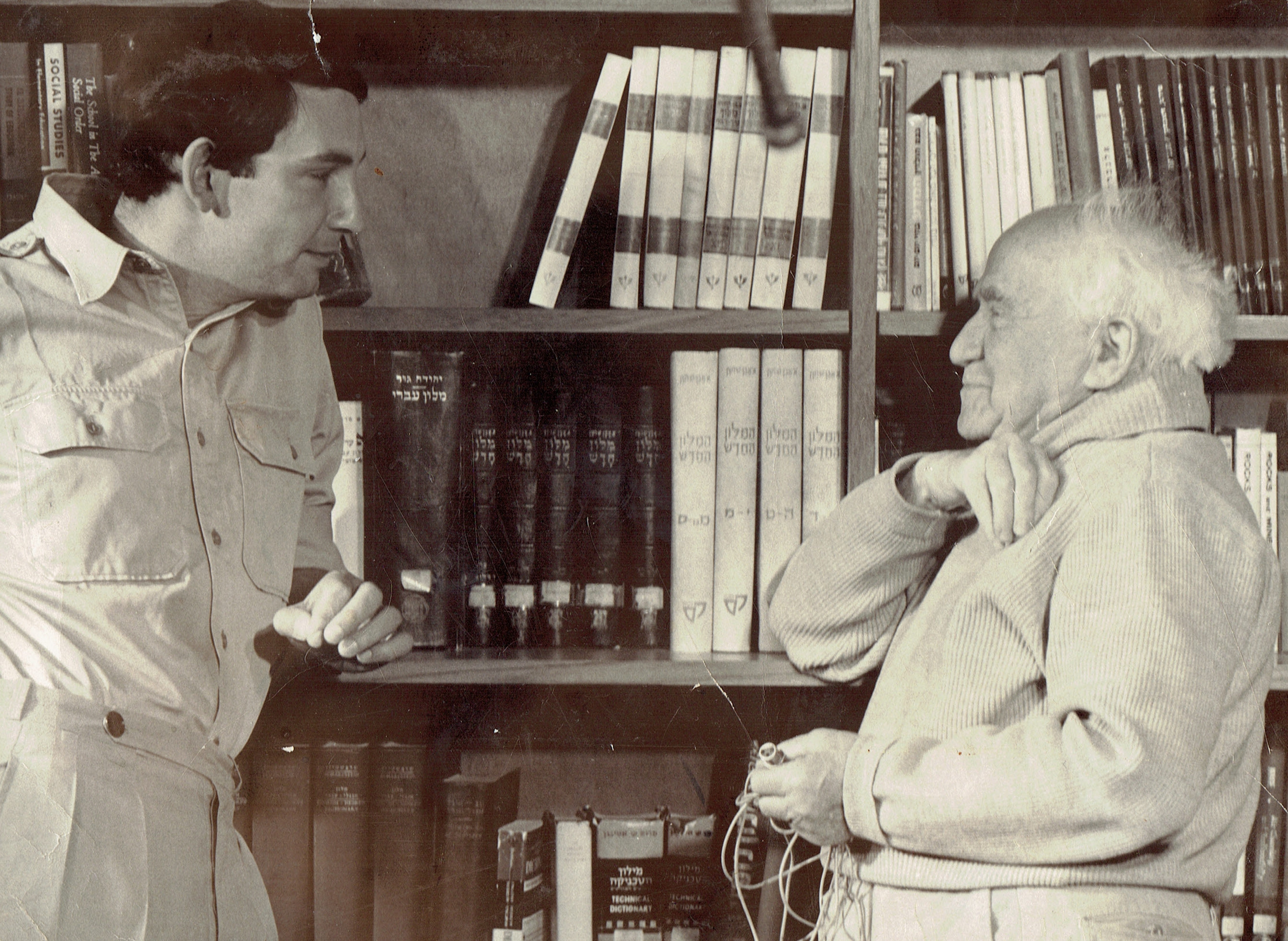 Ben-Gurion (R) with interviewer Clinton Bailey