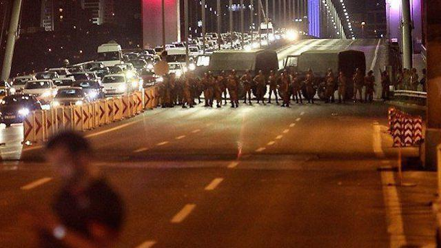 Military forces blocking a bridge in Istanbul, Friday night.