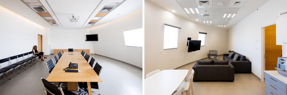חדר ישיבות וחדר מנוחה בקומות 14 עד 16. יש גם חדר כושר לרווחת הפקחים (צילום: אינסה ביננבאום)