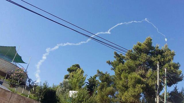 Patriot missile fired near Safed (Photo: Safed Municipality)