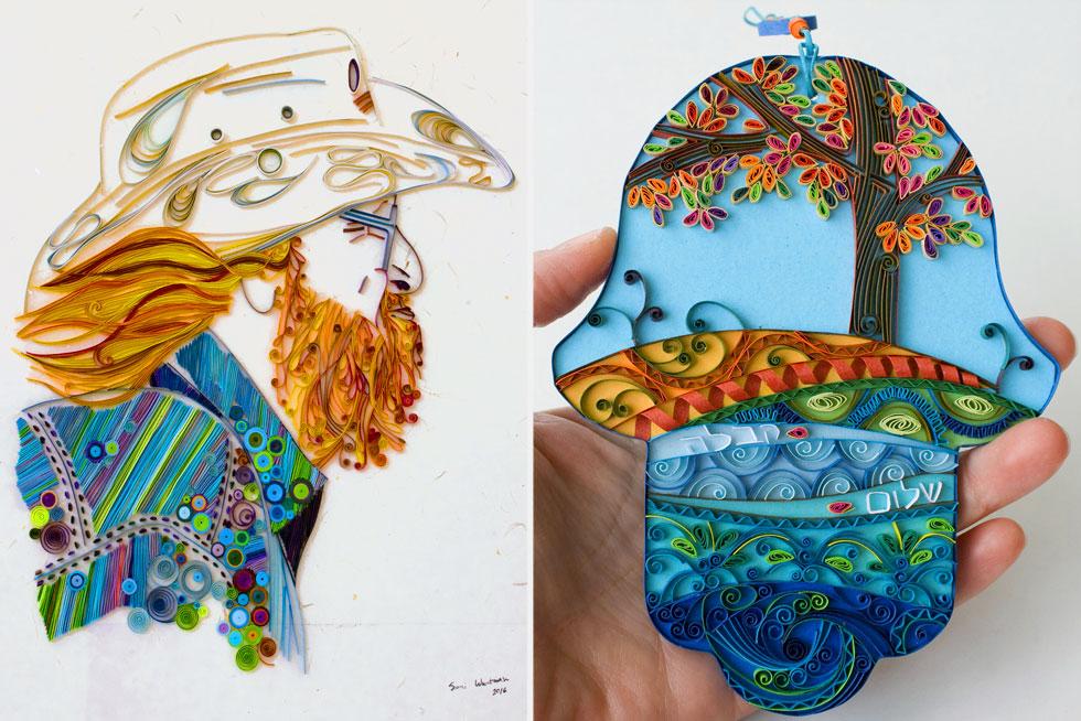יצירות בטכניקת הקווילינג של האומנית  שרי וורטמן (צילום: שרי וורטמן, Paperila art)