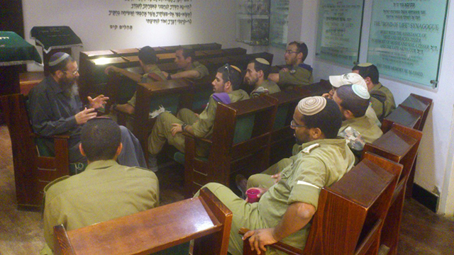 Students at the Bnei David pre-army preparatory yeshiva with Rabbi Levinstein (Photo: Bnei David Yeshiva) (Photo: Bnei David prep school in the Eli settlement)