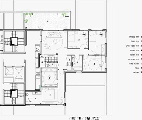 תוכנית הקומה התחתונה של הפנטהאוז, שבה סלון משפחתי וחדרי השינה (תוכניות: אדריכל ערן בינדרמן)