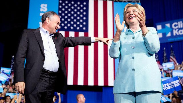 צריכים להתחיל לדאוג? קלינטון ומועמדה לסגן נשיא טים קיין (צילום: AP) (צילום: AP)