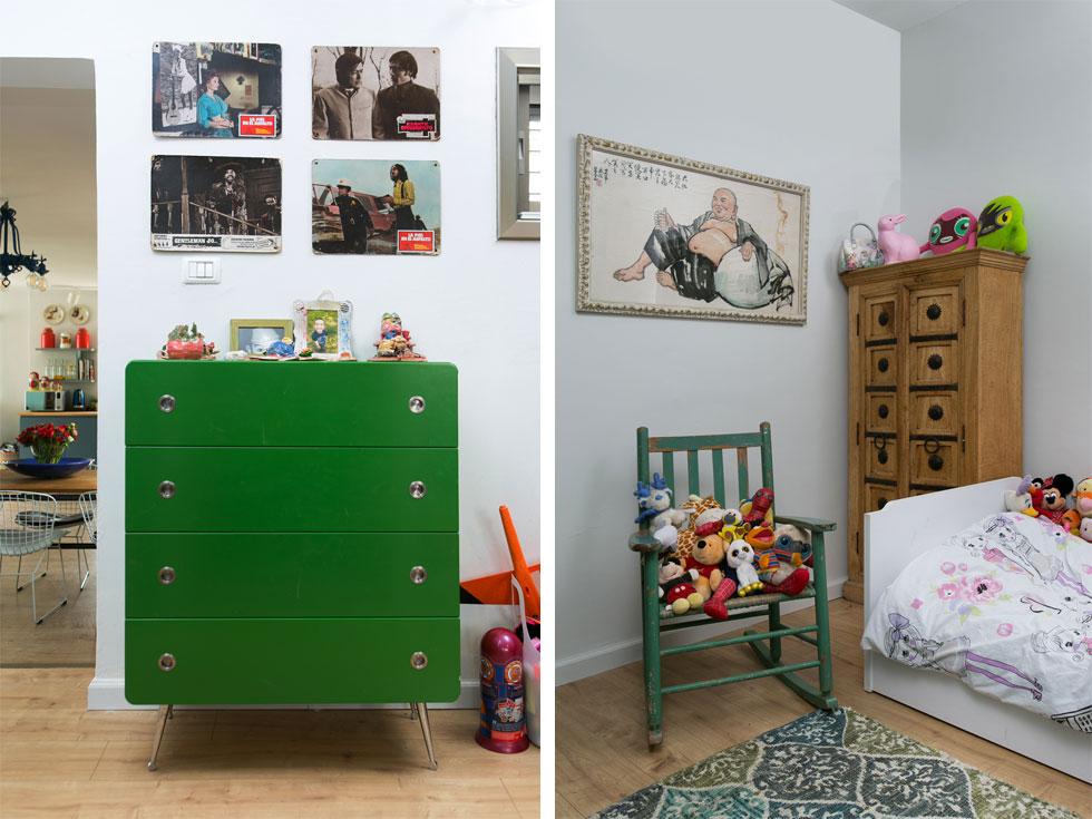 מימין: חדר השינה של הבן והבת, שעיצובו ממשיך את הקו האקלקטי. משמאל שידת ברזל ירוקה בפינת המשחקים המשפחתית (צילום: שירן כרמל)