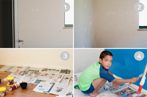 תהליך צביעת הקיר. הילדים ישמחו לעזור (צילום: הילה מגריל)