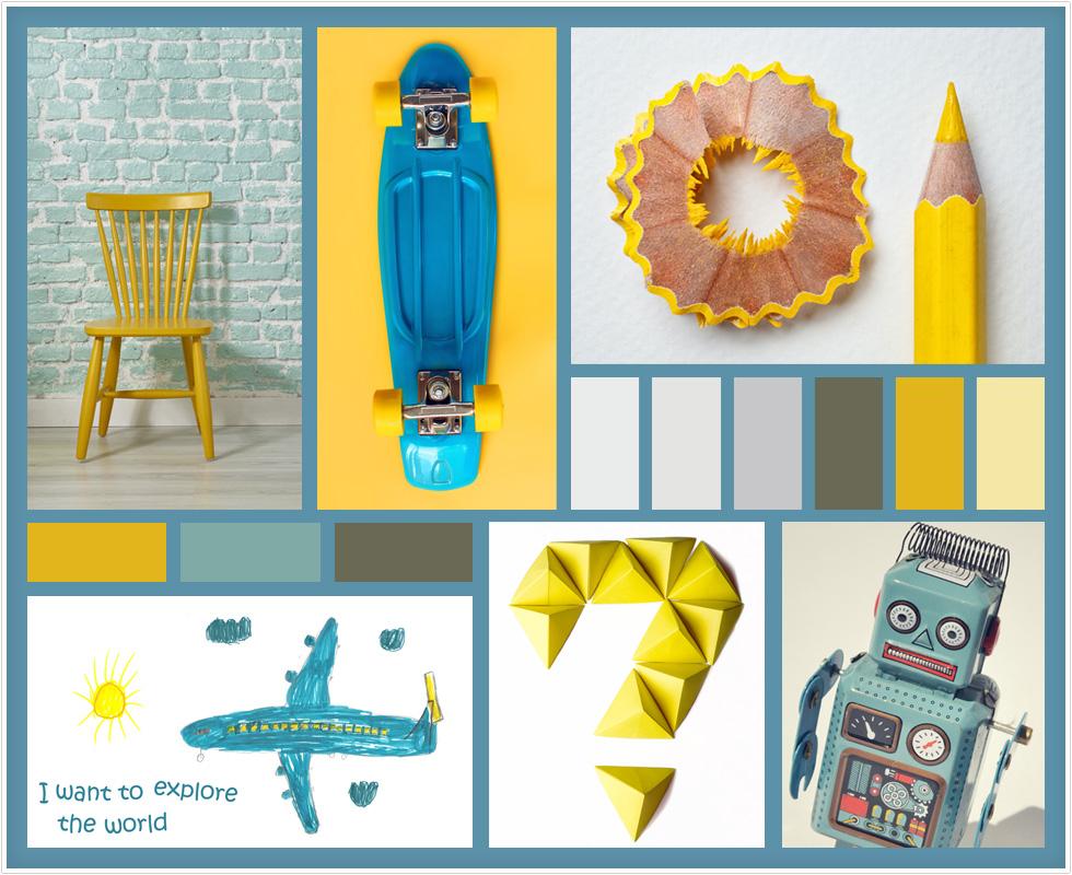 לוח ההשראה שנוצר בתהליך המחשבה על החדר, המאגד צבעוניות וסגנונות אהובים (צילום: Shutterstock)