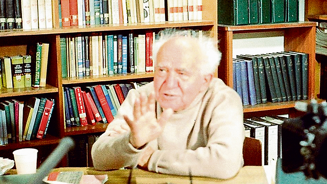David Ben-Gurion in his home office during the filming of the documentary.
